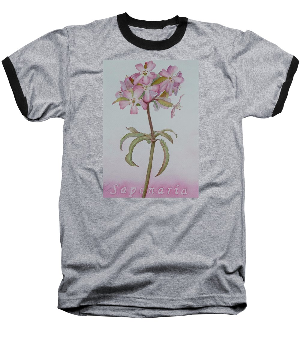 Flower Baseball T-Shirt featuring the painting Saponaria by Ruth Kamenev