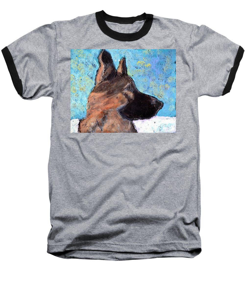 Dog Baseball T-Shirt featuring the painting Sarge II by Wayne Potrafka