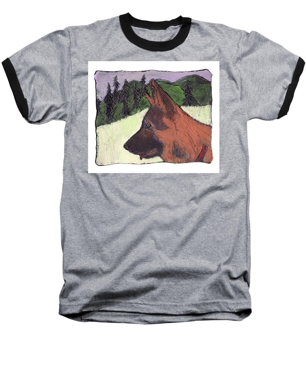 Dog Baseball T-Shirt featuring the painting Sarge by Wayne Potrafka