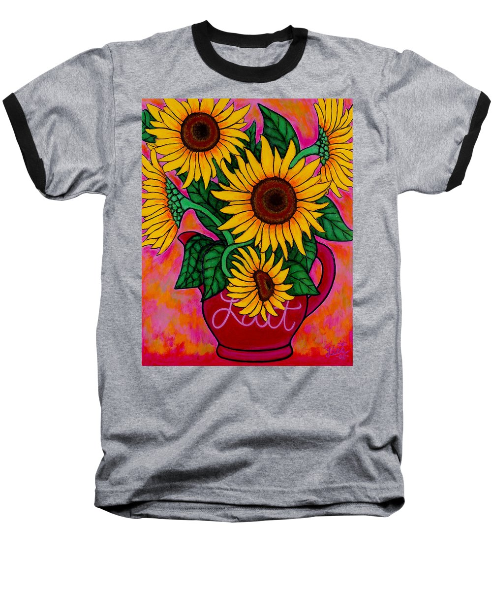 Sunflowers Baseball T-Shirt featuring the painting Saturday Morning Sunflowers by Lisa Lorenz