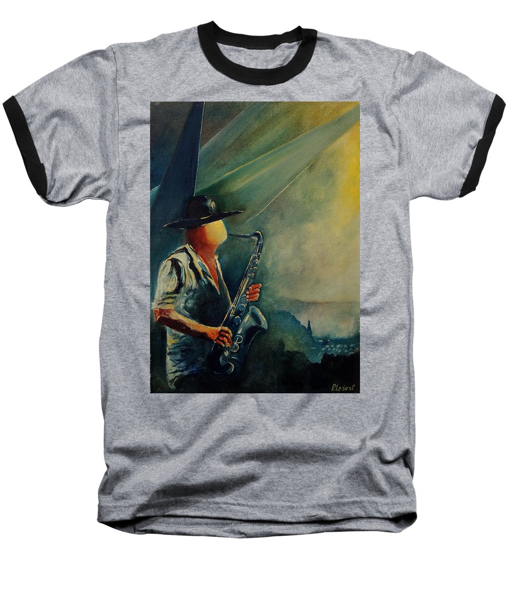 Music Baseball T-Shirt featuring the painting Sax Player by Pol Ledent