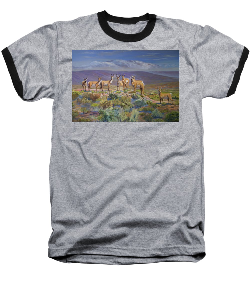 Antelope Baseball T-Shirt featuring the painting Say Cheese Antelope by Heather Coen