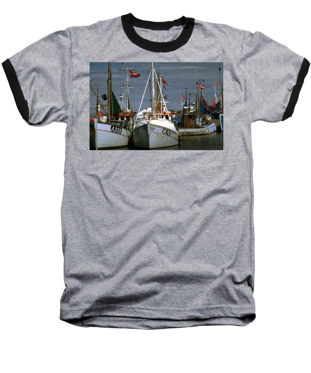 Scandinavian Baseball T-Shirt featuring the photograph Scandinavian Fisher Boats by Flavia Westerwelle