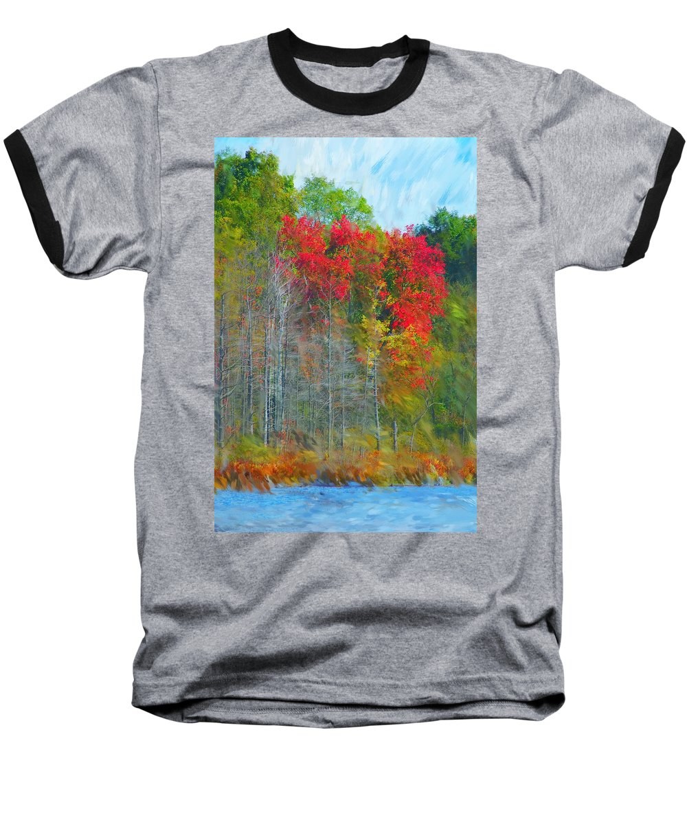 Landscape Baseball T-Shirt featuring the digital art Scarlet Autumn Burst by David Lane