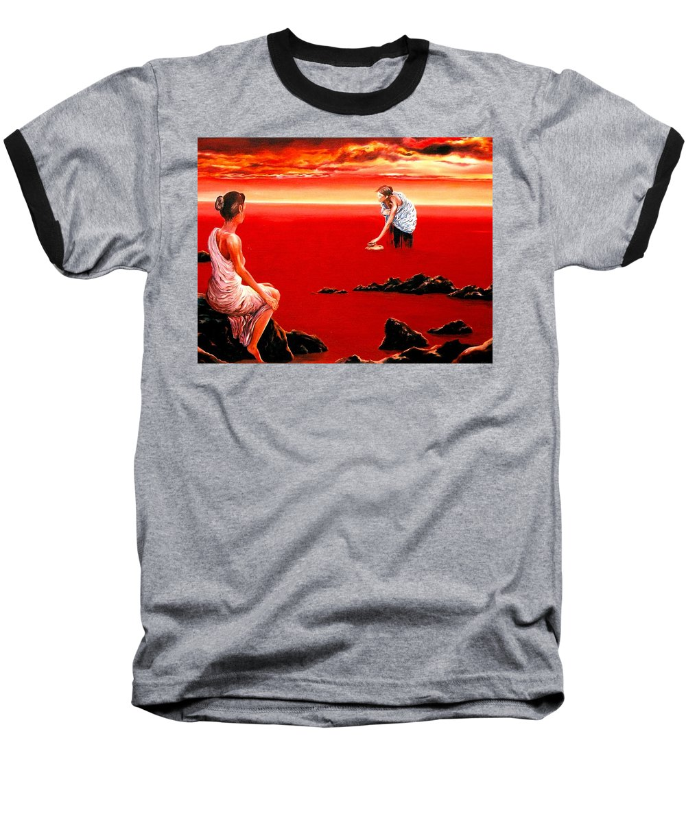 Red Baseball T-Shirt featuring the painting Scarlet Evening In December by Mark Cawood