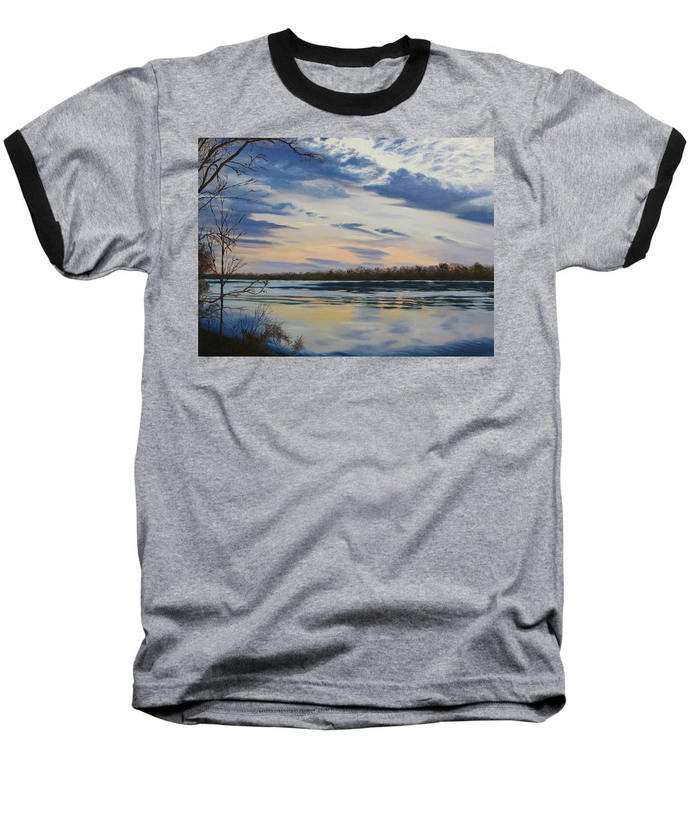 Clouds Baseball T-Shirt featuring the painting Scenic Overlook - Delaware River by Lea Novak