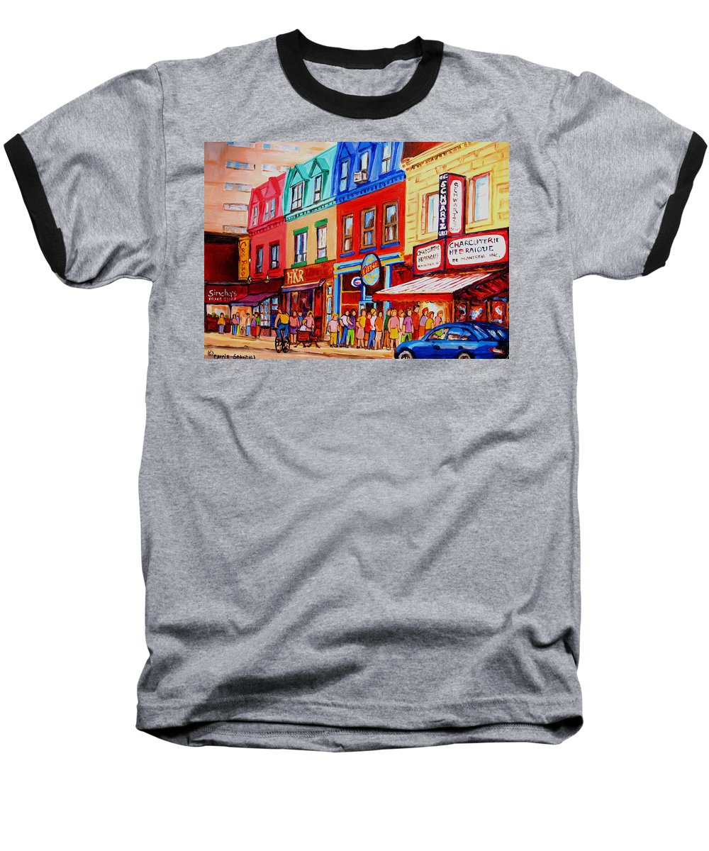 Cityscape Baseball T-Shirt featuring the painting Schwartz Lineup With Simcha by Carole Spandau
