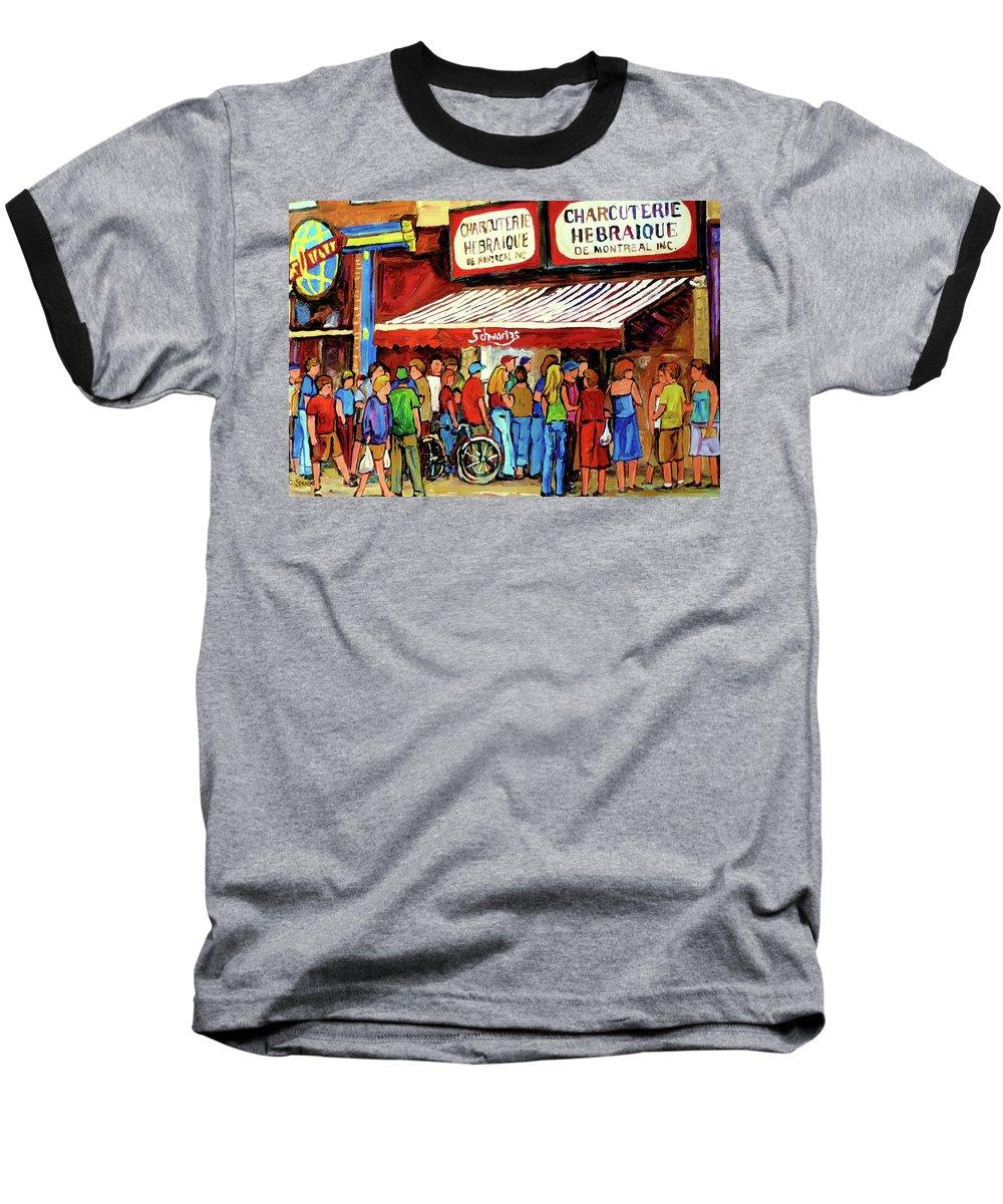 Schwartz Deli Baseball T-Shirt featuring the painting Schwartzs Deli Lineup by Carole Spandau