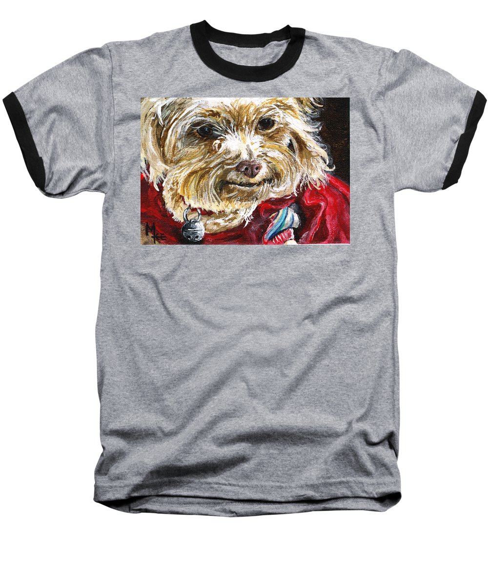 Charity Baseball T-Shirt featuring the painting Scooter From Muttville by Mary-Lee Sanders