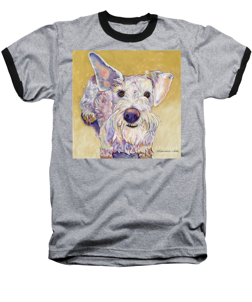 Schnauzer Baseball T-Shirt featuring the pastel Scooter by Pat Saunders-White