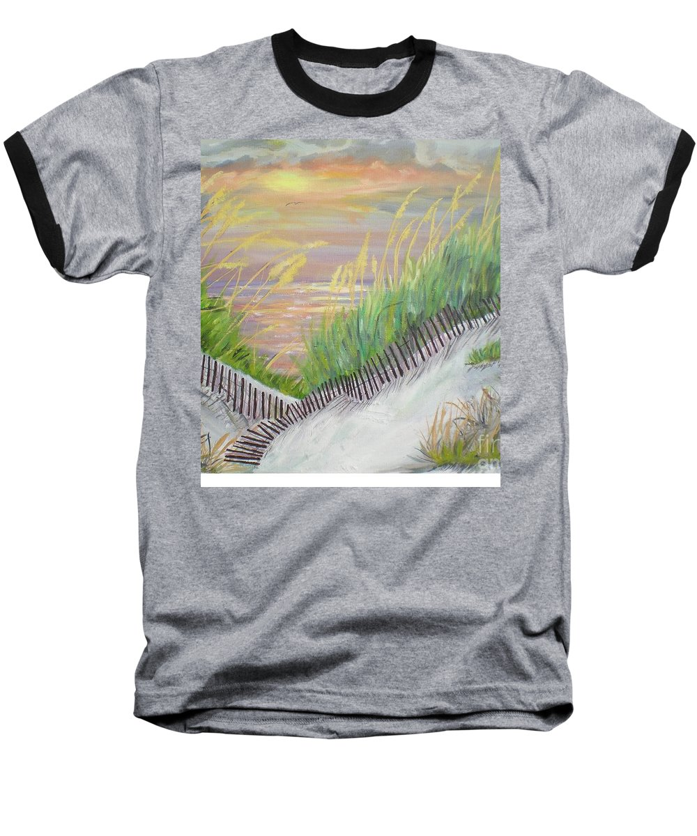 Seascape Baseball T-Shirt featuring the painting Sea Oats by Hal Newhouser