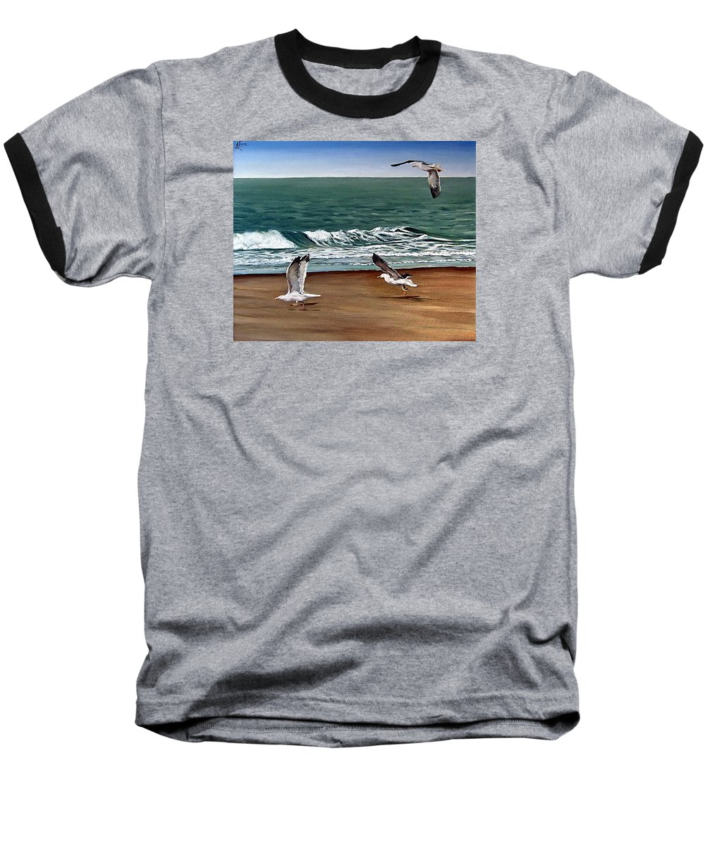 Seascape Baseball T-Shirt featuring the painting Seagulls 2 by Natalia Tejera