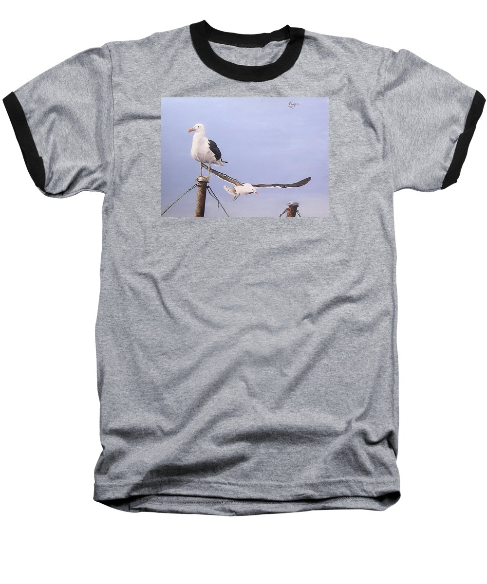 Seascape Gulls Bird Sea Baseball T-Shirt featuring the painting Seagulls by Natalia Tejera