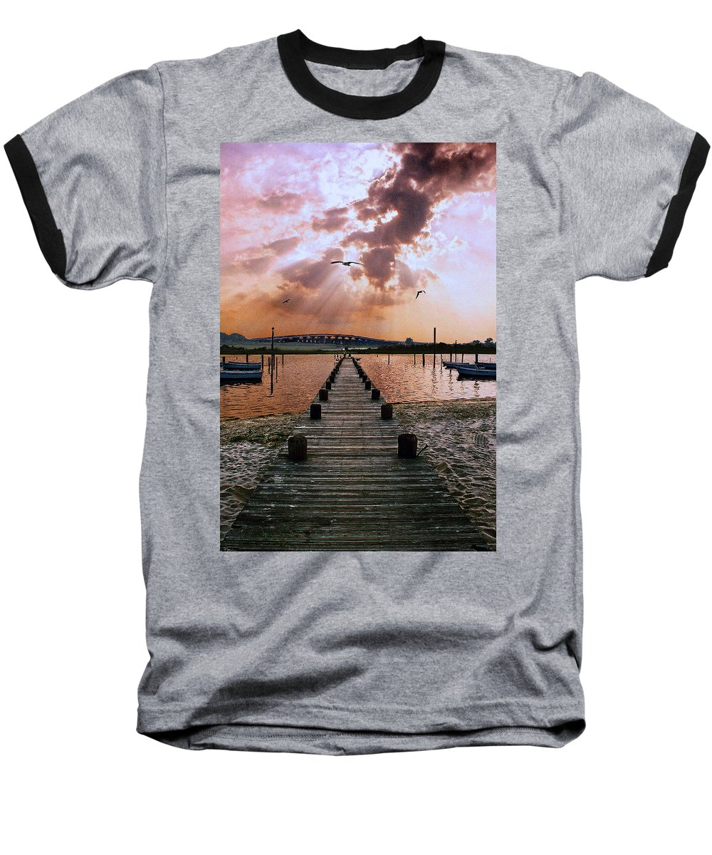 Seascape Baseball T-Shirt featuring the photograph Seaside by Steve Karol