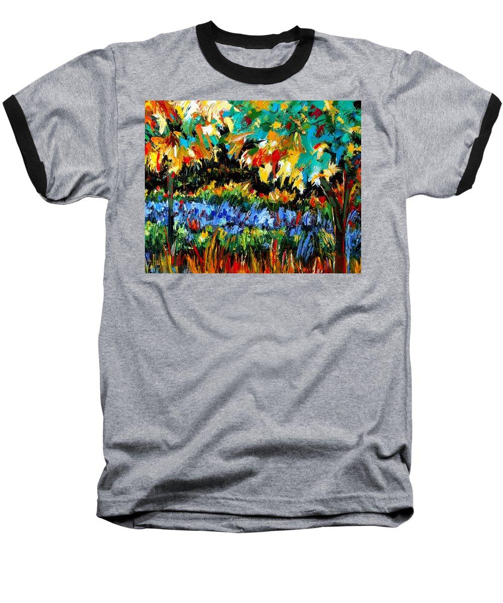 Landscape Baseball T-Shirt featuring the painting Secret Garden by Debra Hurd
