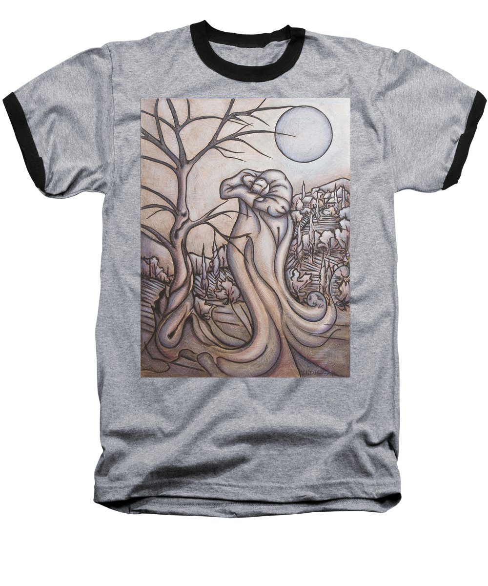 Dream. Moon Baseball T-Shirt featuring the painting Secrets And Dreams by Judy Henninger