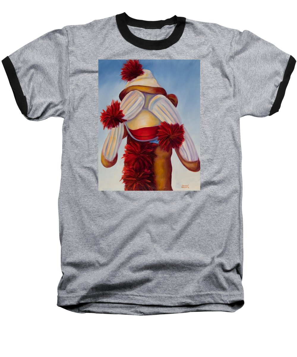 Children Baseball T-Shirt featuring the painting See No Bad Stuff by Shannon Grissom