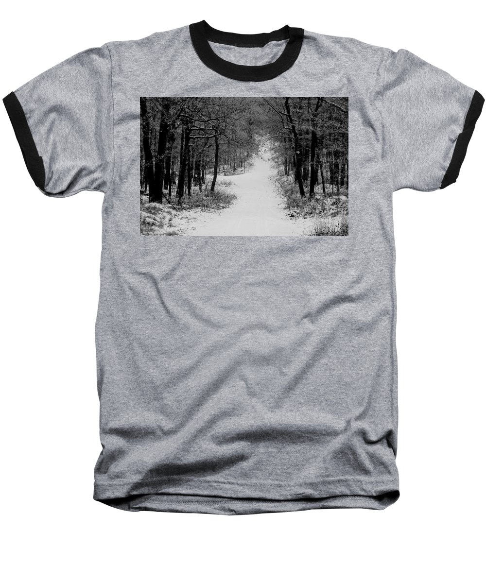 Snow Baseball T-Shirt featuring the photograph See Where It Leads. by Jean Macaluso