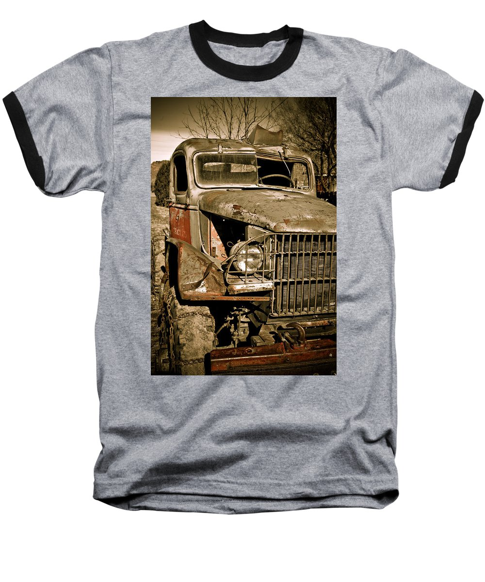 Old Vintage Antique Truck Worn Western Baseball T-Shirt featuring the photograph Seen Better Days by Marilyn Hunt