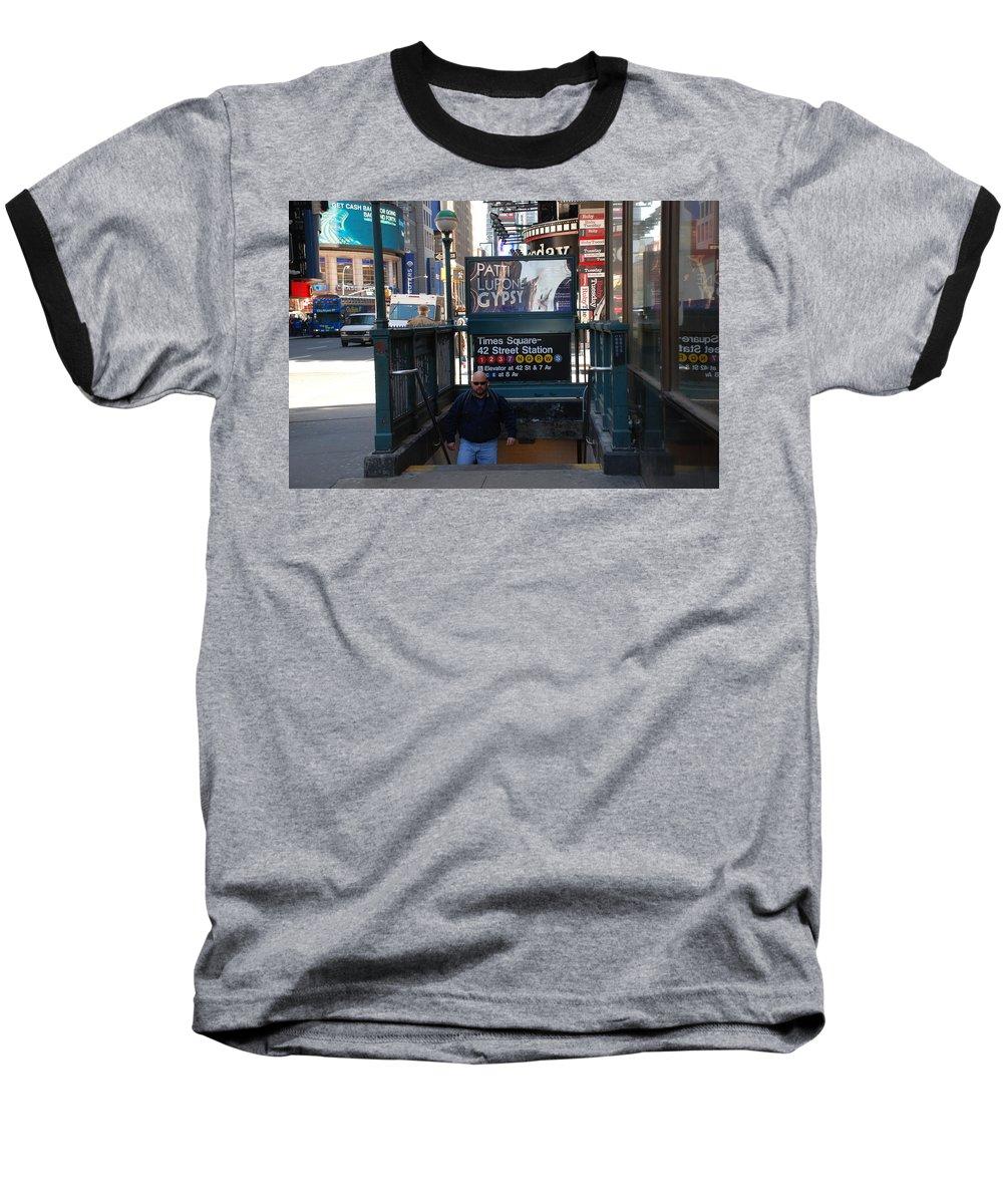 Subay Baseball T-Shirt featuring the photograph Self At Subway Stairs by Rob Hans