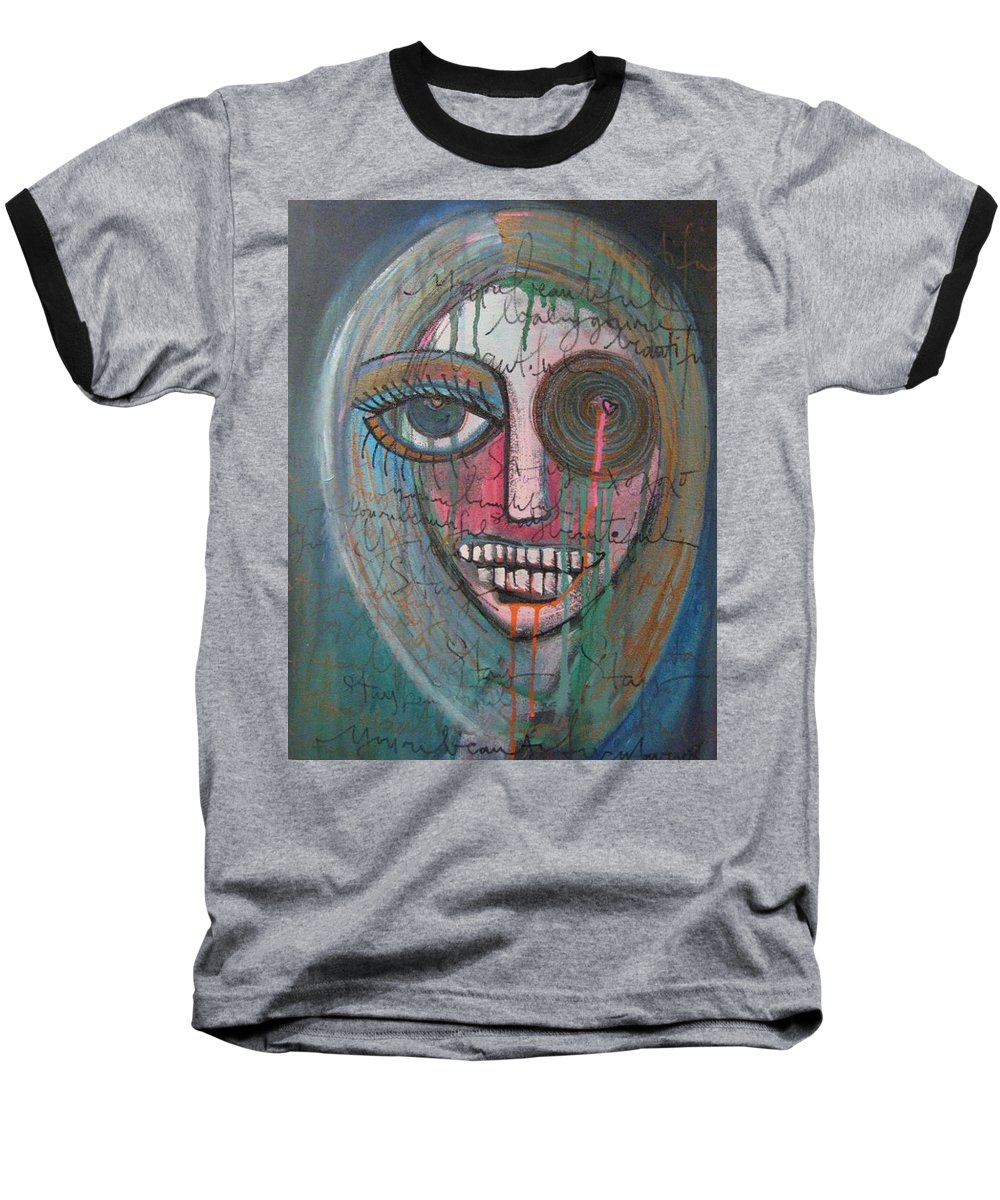 Self Portraits Baseball T-Shirt featuring the painting Self Portrait Youre Beautiful by Laurie Maves ART