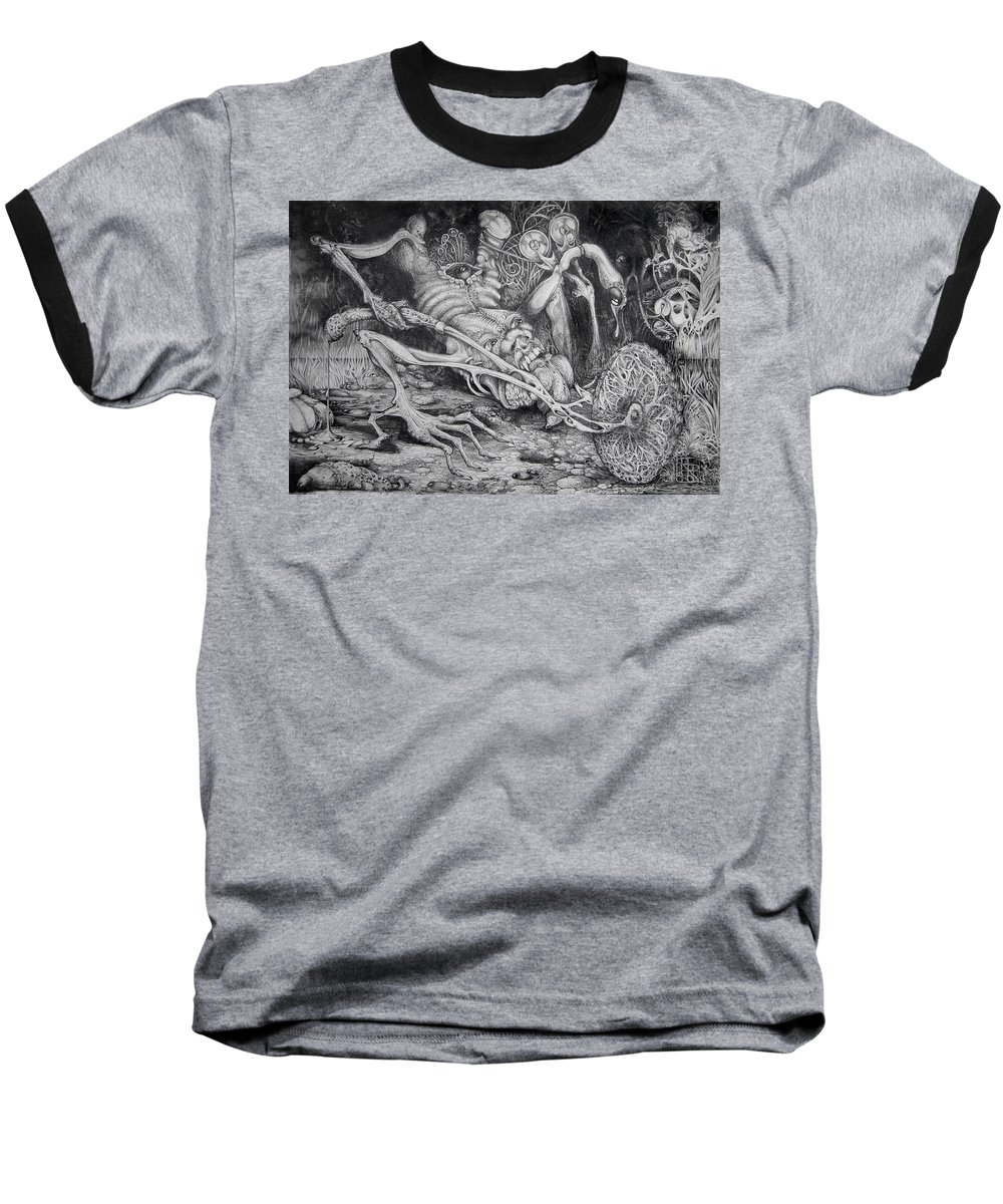 Surrealism Baseball T-Shirt featuring the drawing Selfpropelled Beastie Seeder by Otto Rapp