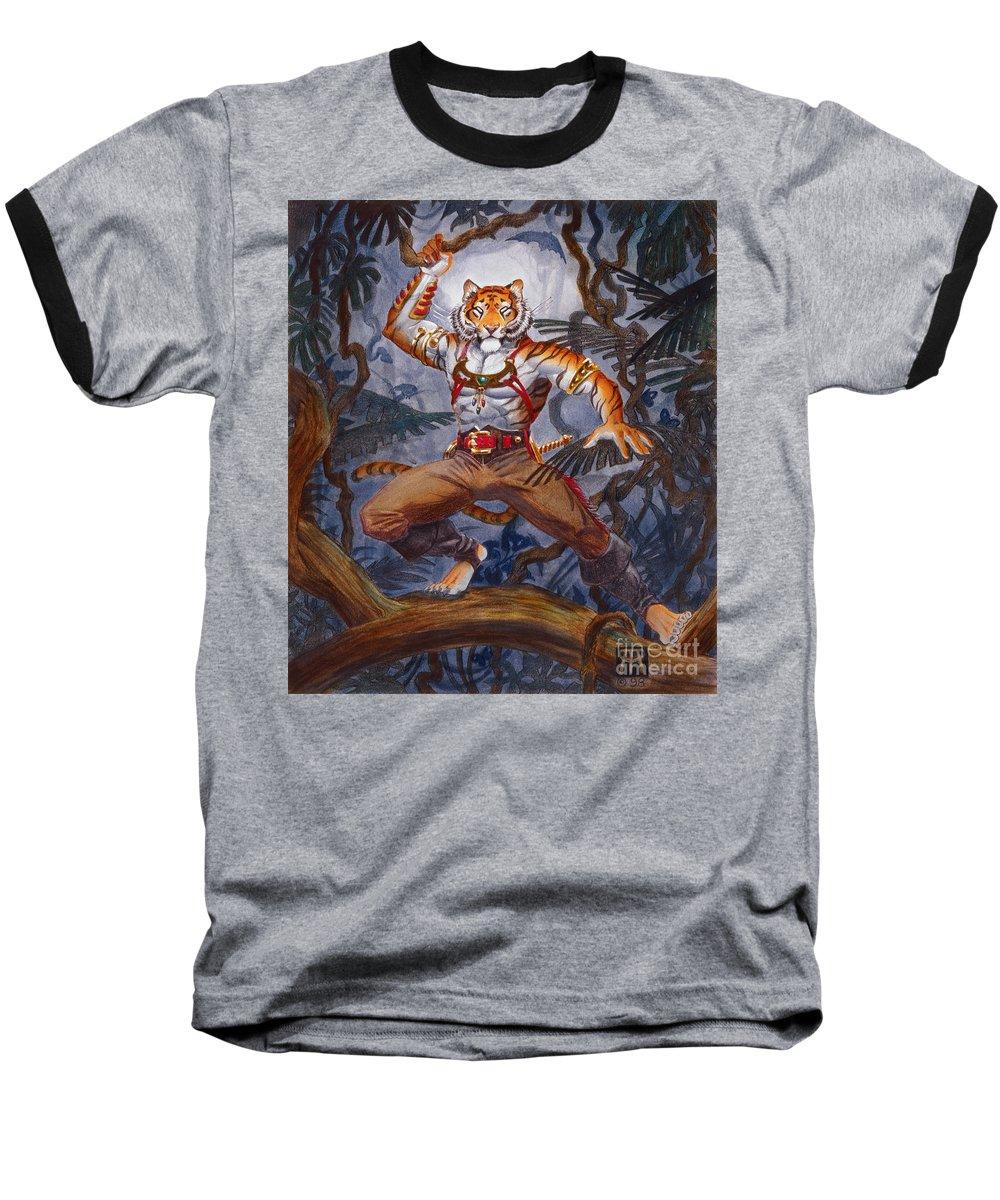 Cat Baseball T-Shirt featuring the painting Sense Dark by Melissa A Benson