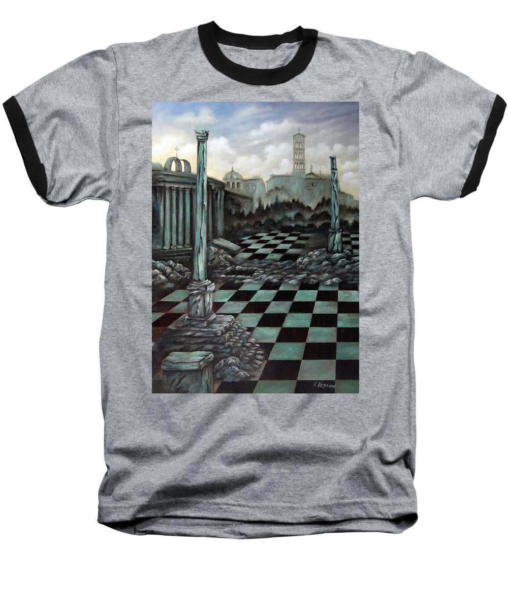 Surreal Baseball T-Shirt featuring the painting Sepulchre by Valerie Vescovi