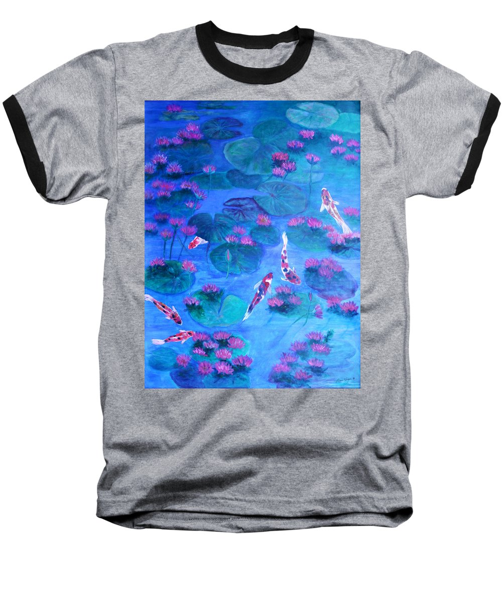 Lily Pads Baseball T-Shirt featuring the painting Serene Pond by Ben Kiger