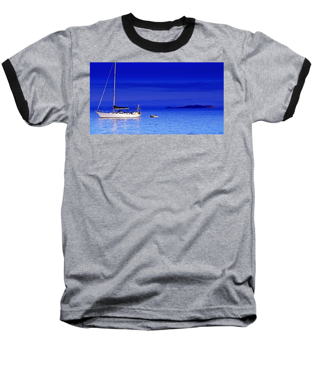 Transportation. Boats Baseball T-Shirt featuring the photograph Serene Seas by Holly Kempe