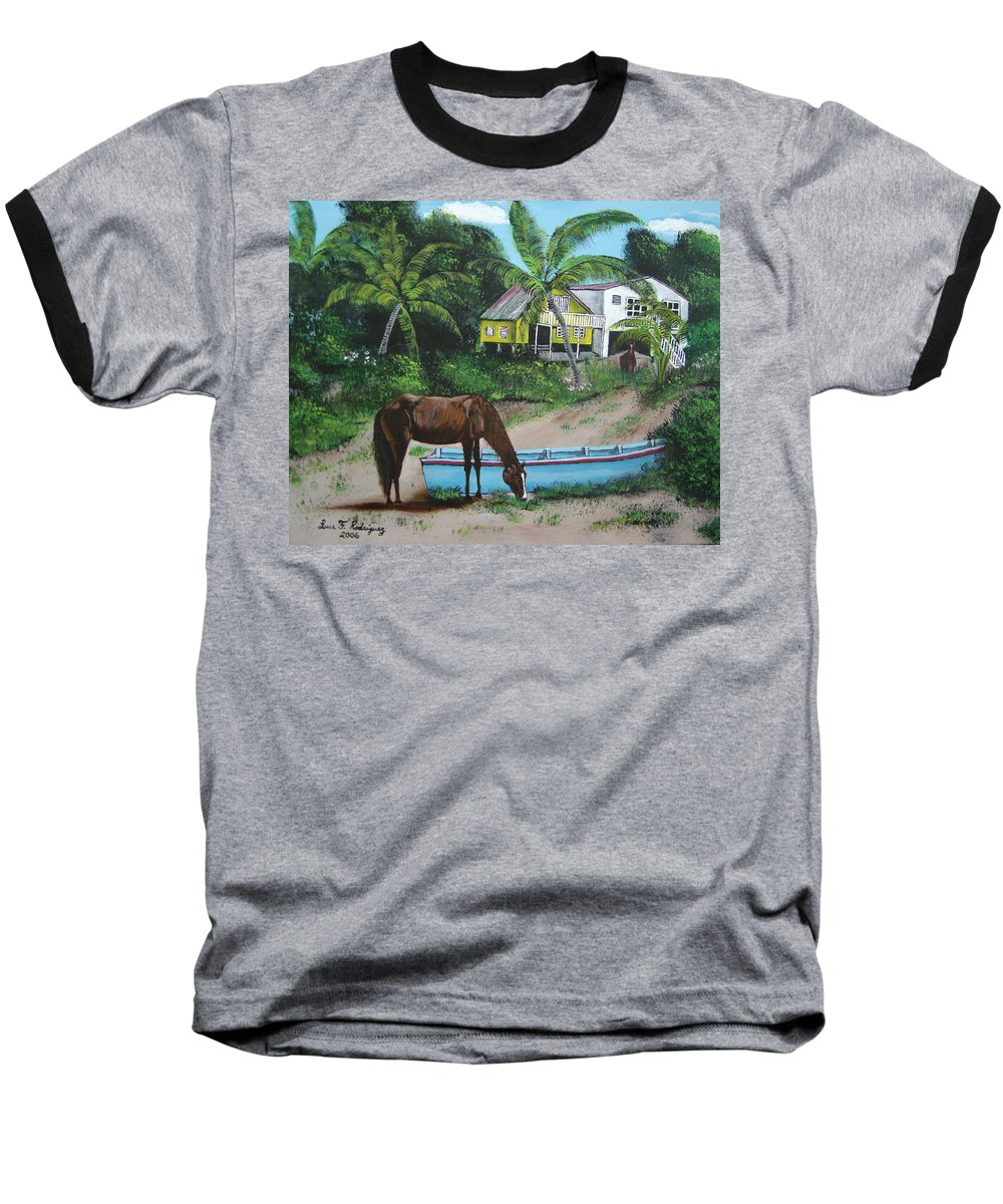 Aguadilla Baseball T-Shirt featuring the painting Serenity by Luis F Rodriguez