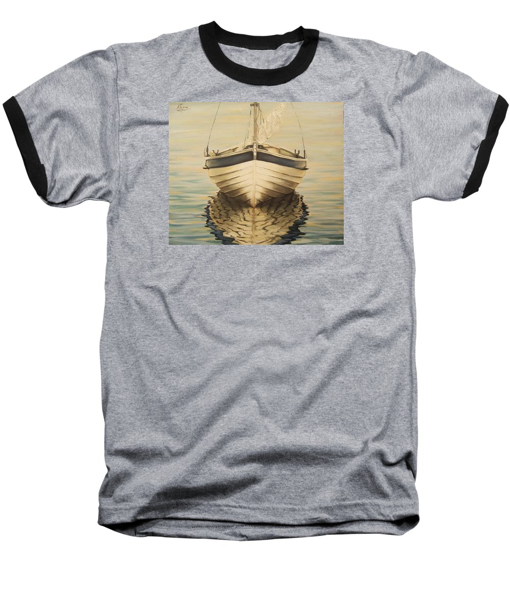 Seascape Baseball T-Shirt featuring the painting Serenity by Natalia Tejera