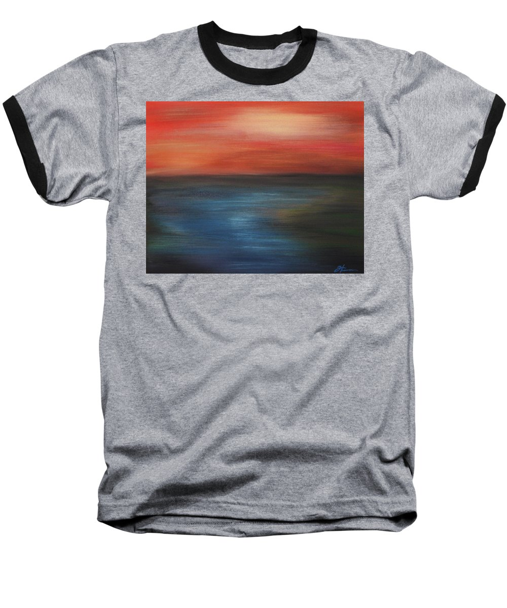 Scenic Baseball T-Shirt featuring the painting Serenity by Todd Hoover