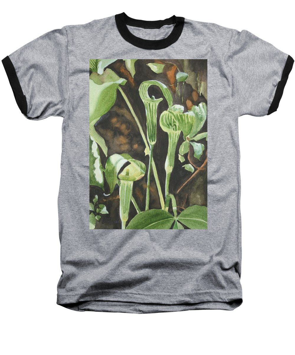Woods Baseball T-Shirt featuring the painting Sermon In The Woods by Jean Blackmer