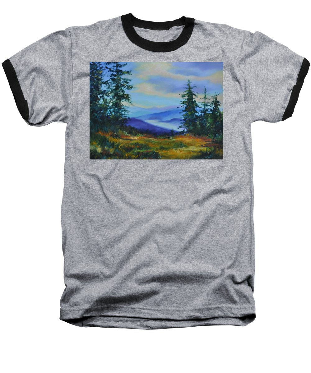Alaska Mountains Baseball T-Shirt featuring the painting Seven Mile Saddle by Ginger Concepcion