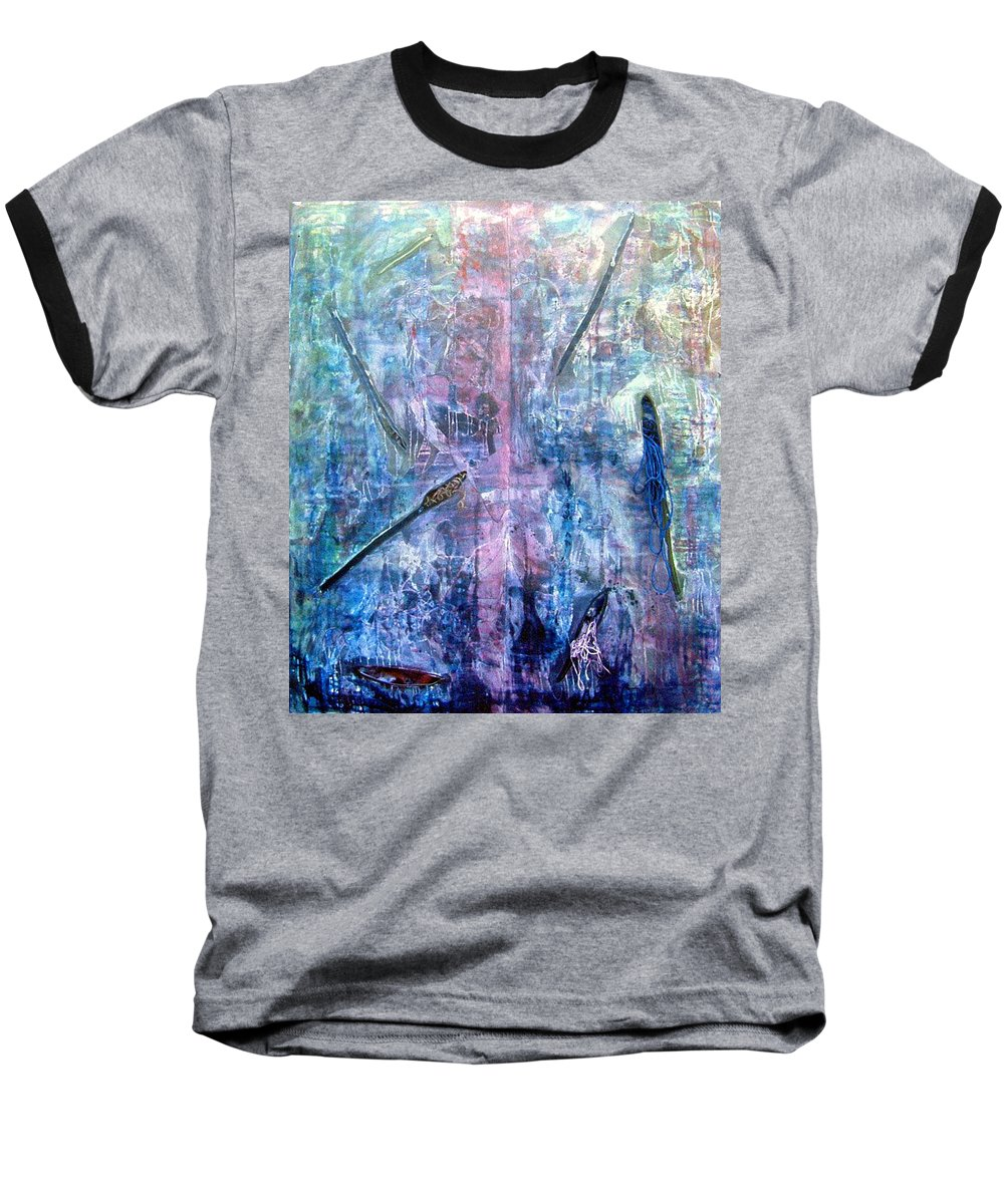 Abstract Baseball T-Shirt featuring the painting Seven Zippers by Nancy Mueller