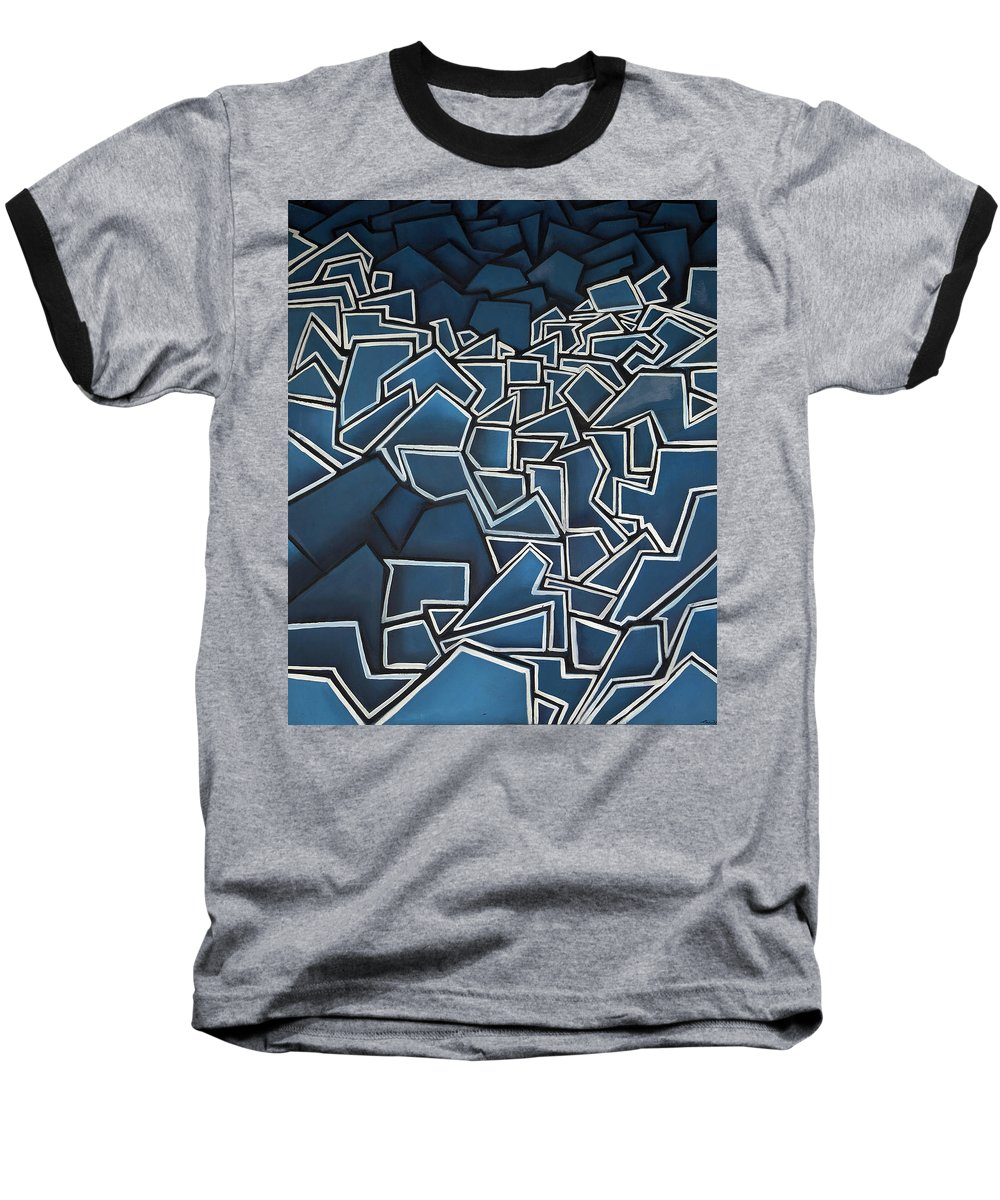 Abstract Baseball T-Shirt featuring the painting Shadderd Space by Thomas Valentine