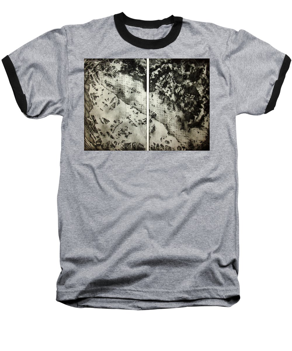 Etching Baseball T-Shirt featuring the drawing Shadows And Lace by Nancy Mueller