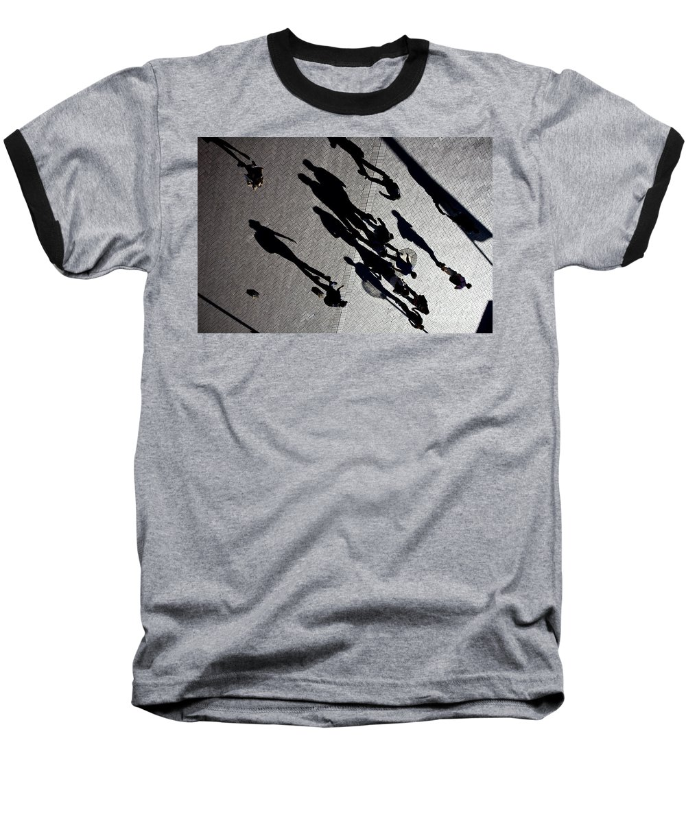 Shadows People Abstract Baseball T-Shirt featuring the photograph Shadows by Sheila Smart Fine Art Photography