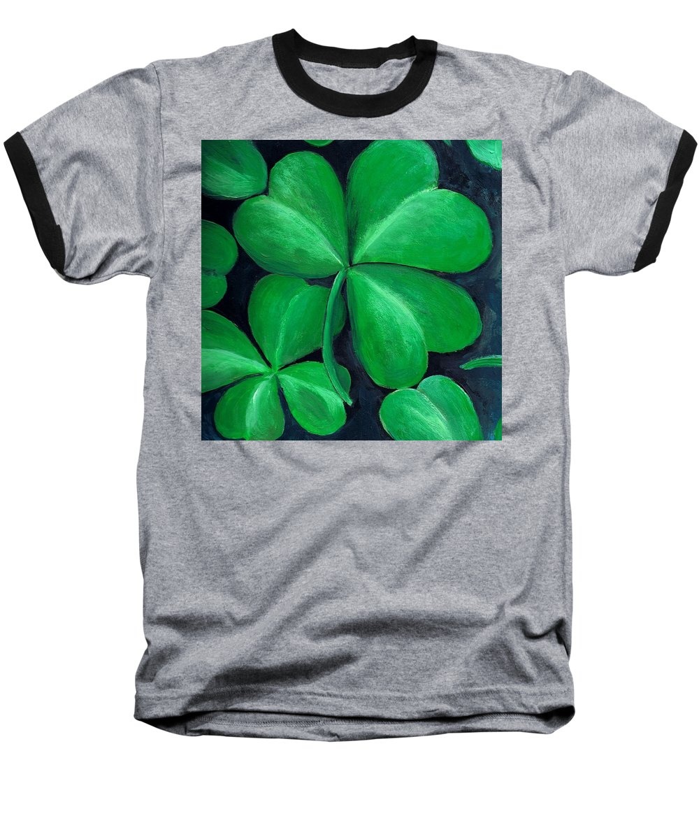 Shamrock Baseball T-Shirt featuring the painting Shamrocks by Nancy Mueller