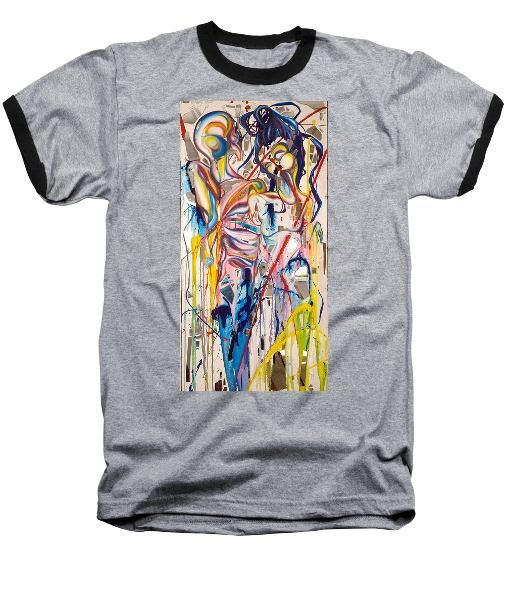 Abstract Baseball T-Shirt featuring the painting Shards by Sheridan Furrer