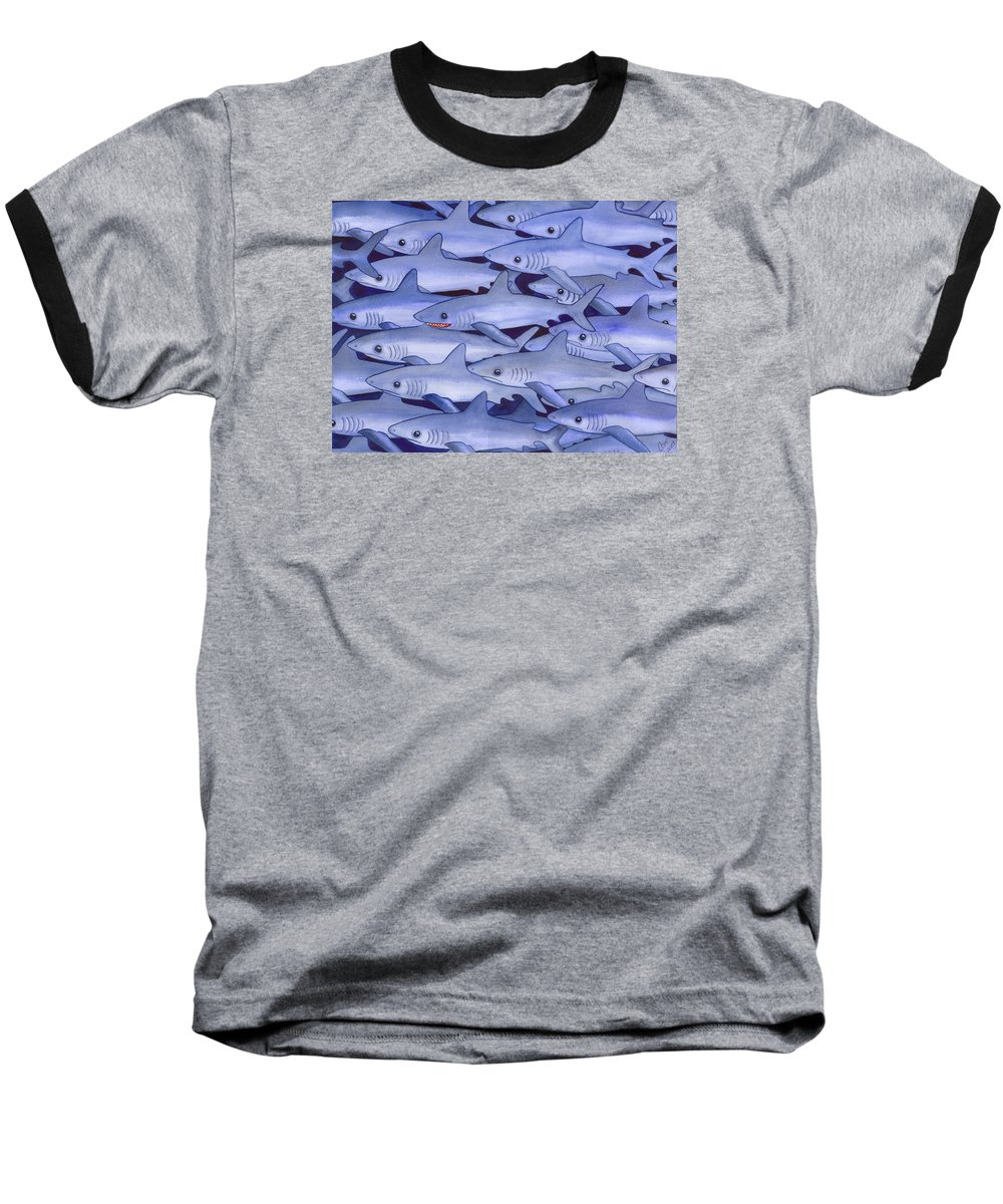 Shark Baseball T-Shirt featuring the painting Sharks by Catherine G McElroy
