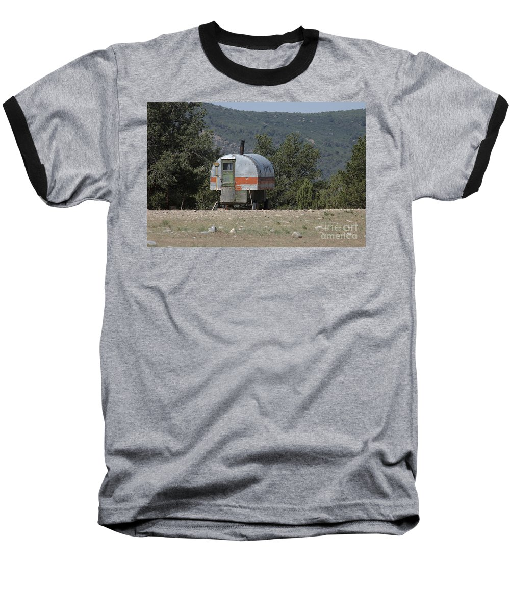 Sheep Baseball T-Shirt featuring the photograph Sheep Herder's Wagon by Jerry McElroy