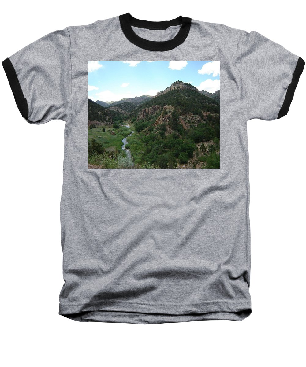 Shelf Road Baseball T-Shirt featuring the photograph Shelf Road Vista by Anita Burgermeister