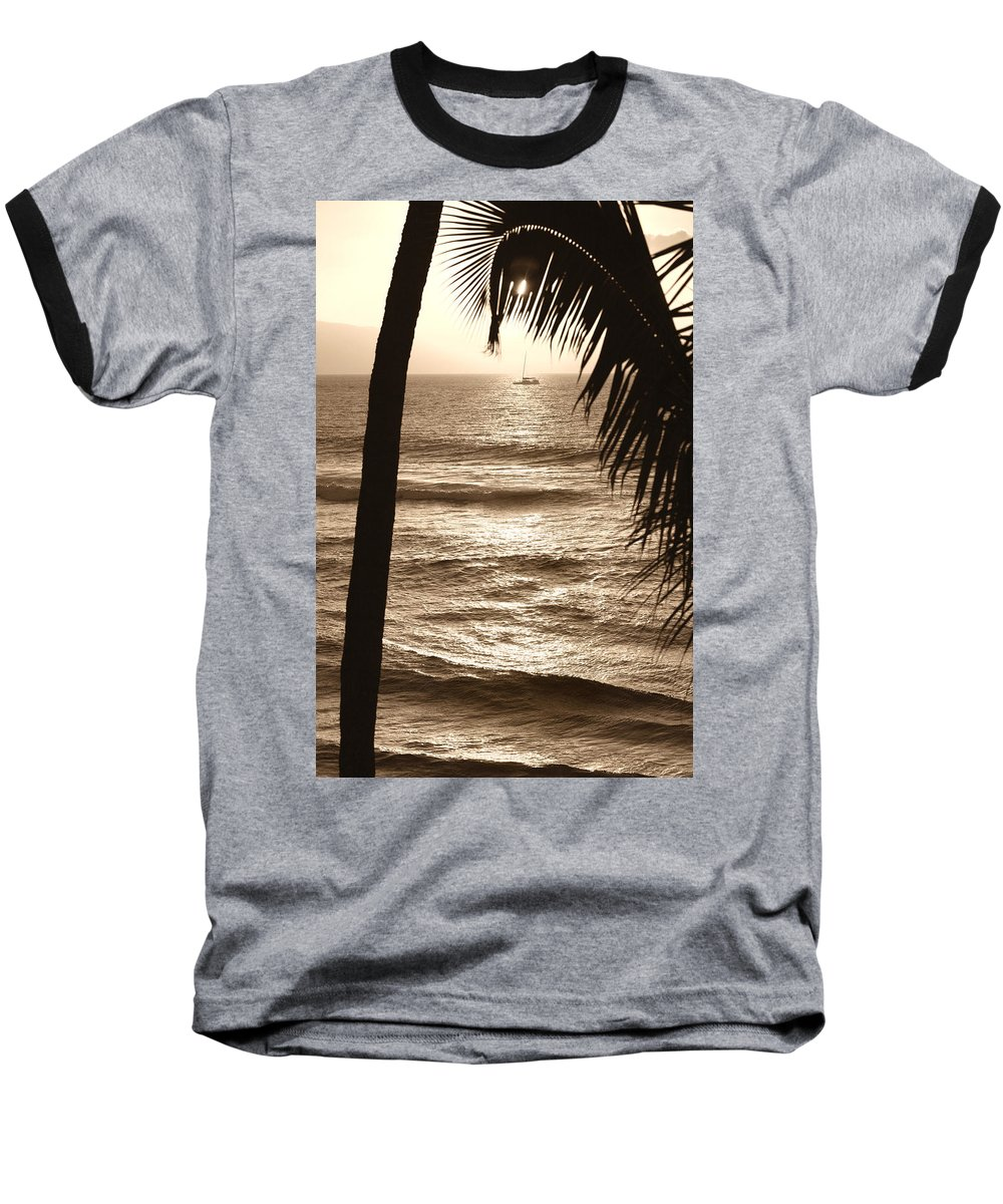 Hawaii Baseball T-Shirt featuring the photograph Ship In Sunset by Marilyn Hunt