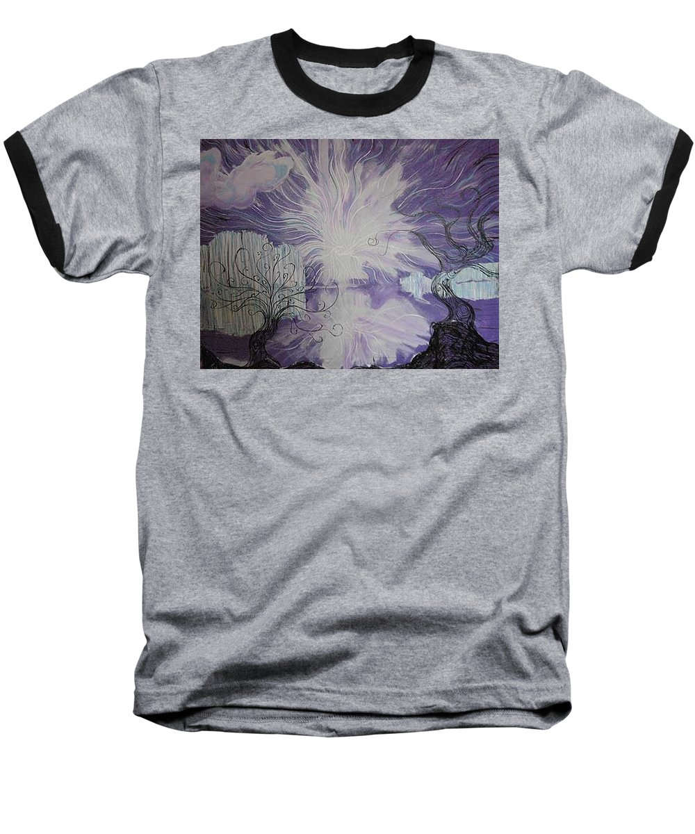 Squiggleism Baseball T-Shirt featuring the painting Shore Dance by Stefan Duncan