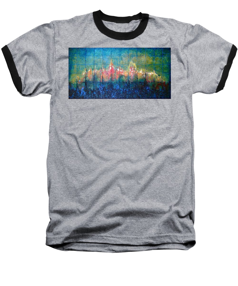 Seascape Baseball T-Shirt featuring the painting Shorebound by Shadia Derbyshire
