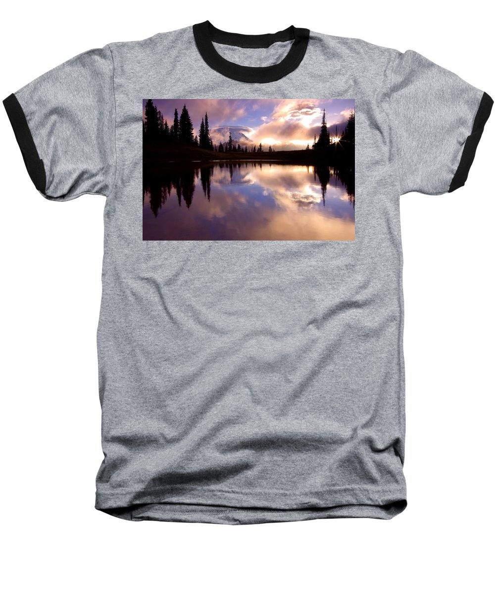 Rainier Baseball T-Shirt featuring the photograph Shrouded In Clouds by Mike Dawson