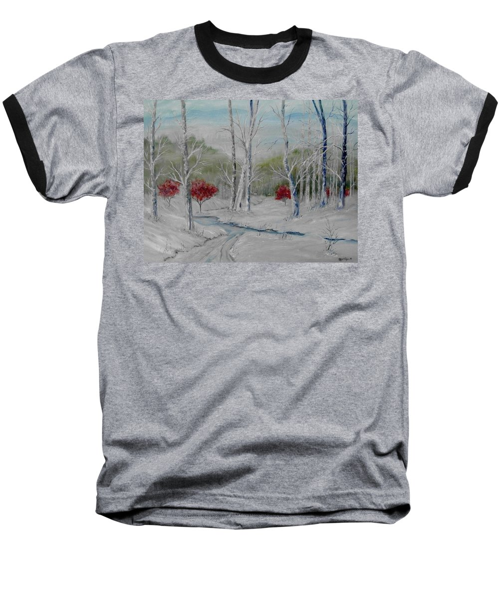 Snow; Winter; Birch Trees Baseball T-Shirt featuring the painting Silence by Ben Kiger