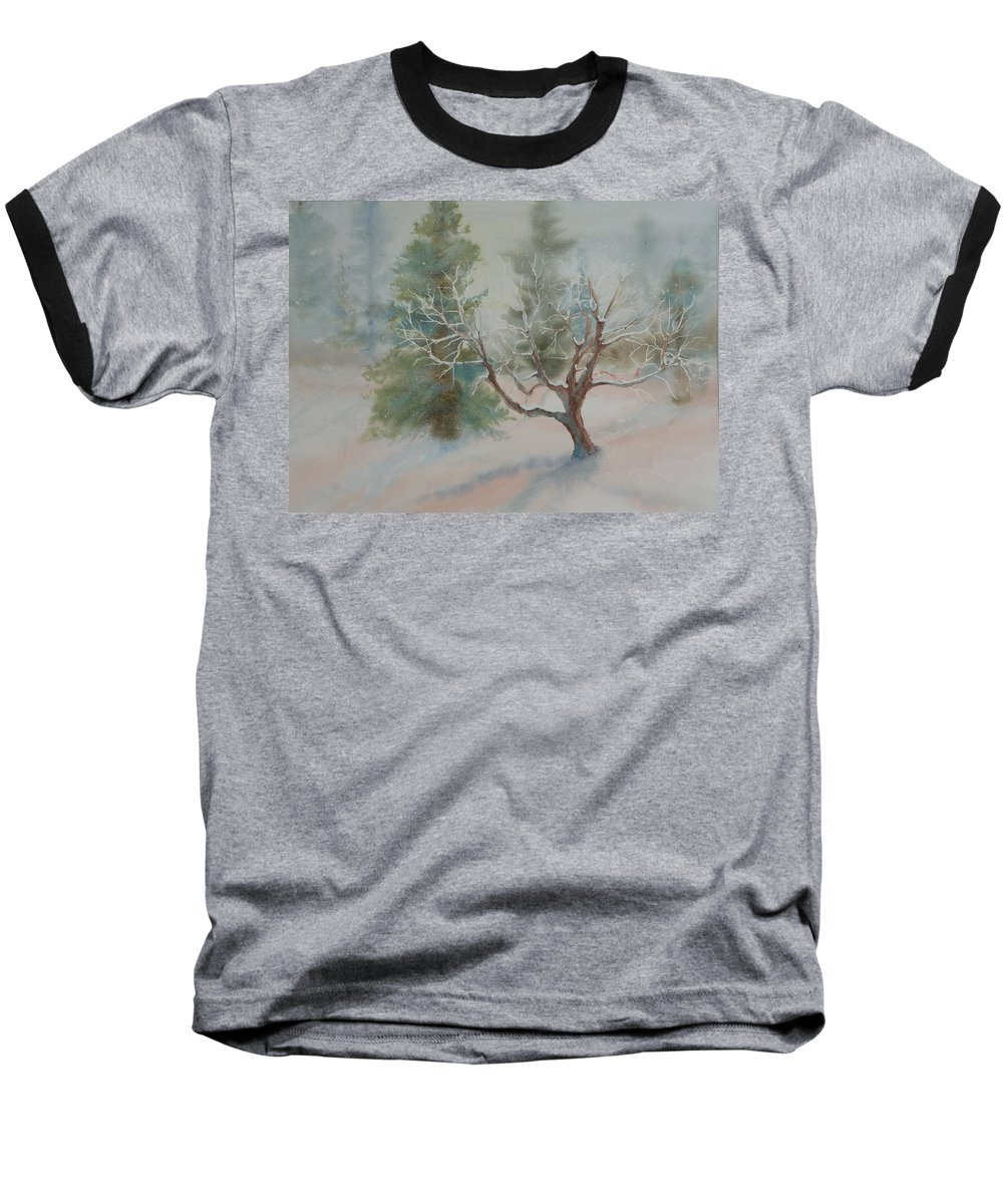 Snow Baseball T-Shirt featuring the painting Silence by Ruth Kamenev